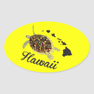 Hawaii Green Sea Turtle Oval Sticker
