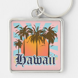 Hawaii Hawaiian Islands Sourvenir Silver-Colored Square Key Ring