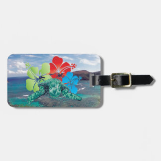 Hawaii Hibiscus Flowers and Turtle Luggage Tag