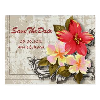 hawaii hibiscus tropical wedding save the date postcard