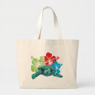 Hawaii Hibiscus Turtle Large Tote Bag