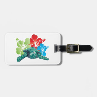 Hawaii Hibiscus Turtle Luggage Tag