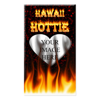 Hawaii Hottie fire and red marble heart. Pack Of Standard Business Cards