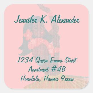 Hawaii Hula Dancer Return Address Square Sticker