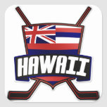 Hawaii Ice Hockey Flag Logo Square Stickers