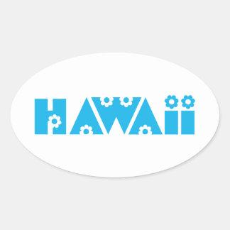 Hawaii in Blue Flowers Oval Sticker