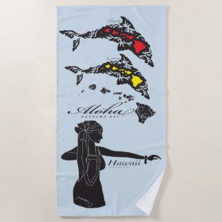 Hawaii Islands Hula Dancer Beach Towel