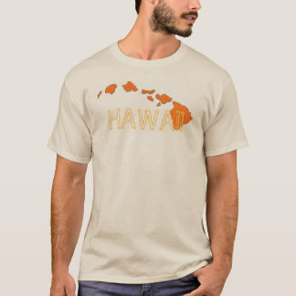 Hawaii islands orange beige guys tee