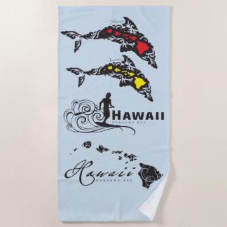 Hawaii Islands Surfer Beach Towel