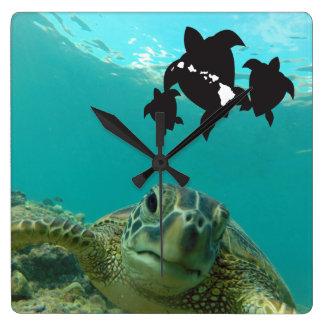 Hawaii Islands Turtles Square Wall Clock