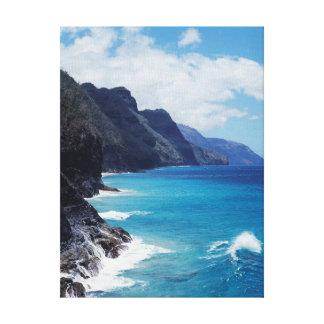 Hawaii, Kauai, Waves from the Pacific Ocean Canvas Print