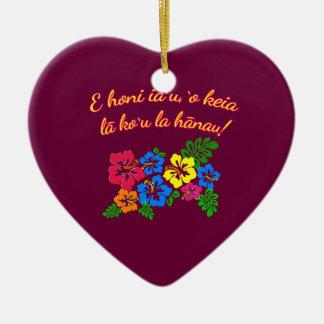 HAWAII Kiss Me It's My Birthday in Hawaiian Ceramic Heart Decoration