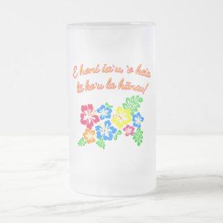 HAWAII Kiss Me It's My Birthday in Hawaiian Frosted Glass Mug