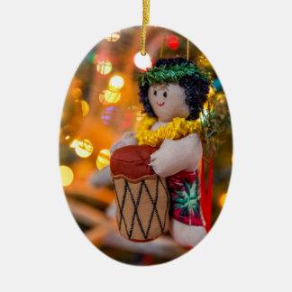 Hawaii Little Drummer Boy Oval Christmas Ornament