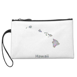 Hawaii map wristlet clutches