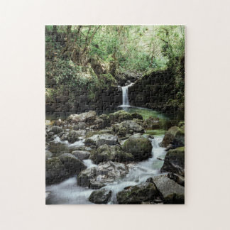 Hawaii, Maui, A waterfall flows into Blue Pool Puzzle