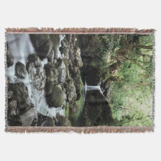 Hawaii, Maui, A waterfall flows into Blue Pool Throw Blanket