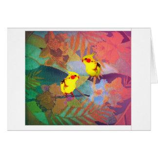 Hawaii Needlepoint with yellow birds Card