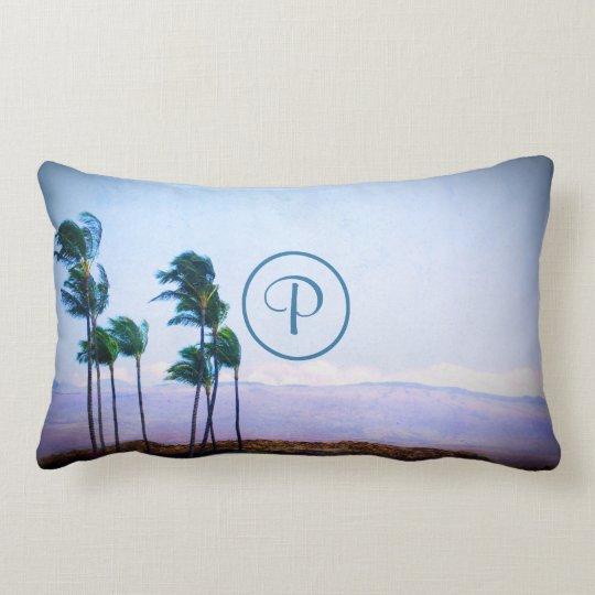 Hawaii palm trees landscape photo custom monogram lumbar cushion