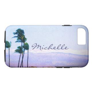 Hawaii palm trees & purple hills photo custom name iPhone 8/7 case