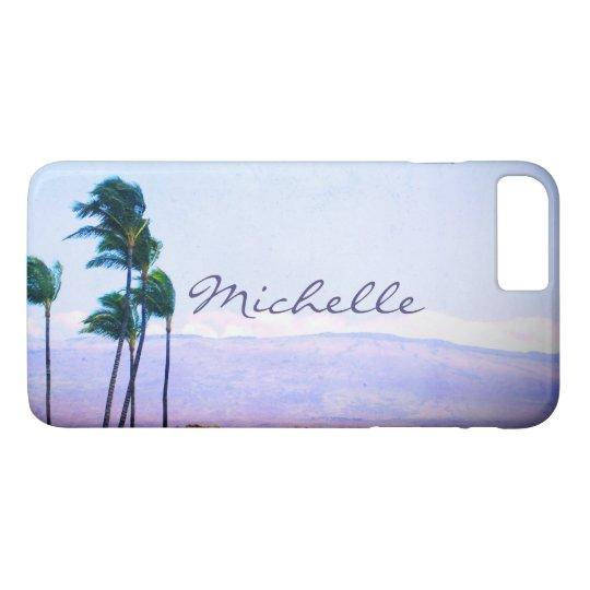 Hawaii palm trees & purple hills photo custom name iPhone 8 plus/7 plus case