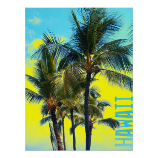 Hawaii palm yellow poster