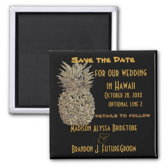 Hawaii Pineapple Save the Date Square Magnet