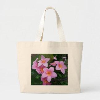 Hawaii Pink Plumeria Flowers Large Tote Bag