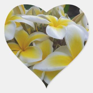 Hawaii Plumeria Flowers Heart Sticker