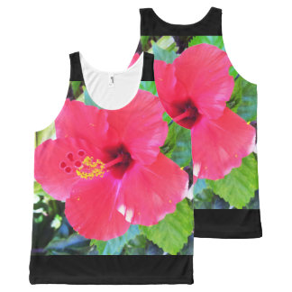 Hawaii Red Hibiscus Flower All-Over Print Tank Top
