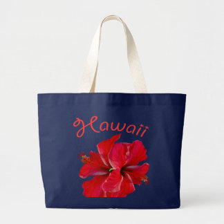 Hawaii Red Hibiscus Large Tote Bag