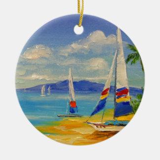 Hawaii Round Ceramic Decoration
