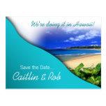 Hawaii Save The Date (aqua ocean) Post Cards