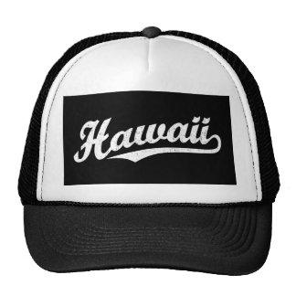 Hawaii script logo in white distressed cap