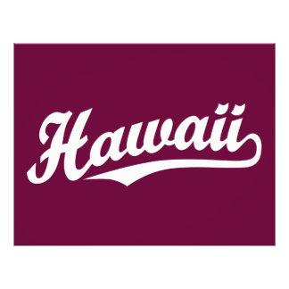 Hawaii script logo in white 21.5 cm x 28 cm flyer