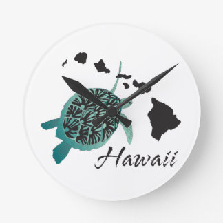 Hawaii Sea Turtle Round Clock
