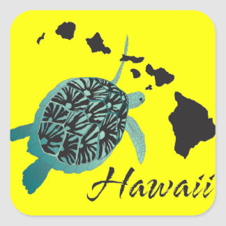 Hawaii Sea Turtle Square Sticker
