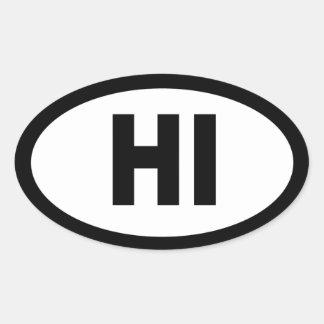 Hawaii - sheet of 4 oval car stickers