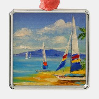 Hawaii Silver-Colored Square Decoration