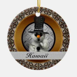 Hawaii Snowman Christmas Ornament