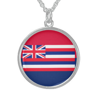 Hawaii State Flag Design Round Pendant Necklace
