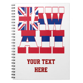 Hawaii state flag text notebook