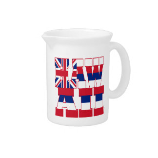 Hawaii state flag text pitcher