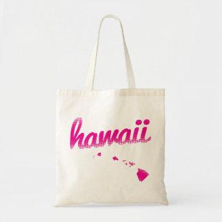Hawaii state in pink tote bag