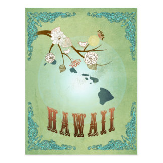 Hawaii State Map – Green Postcard