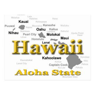 Hawaii State Pride Map Silhouette Postcard