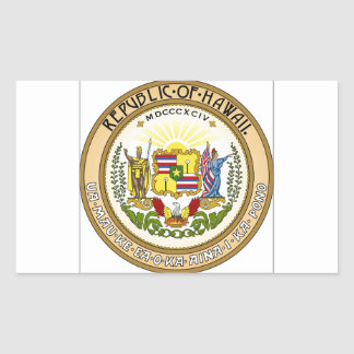 Hawaii State Seal Rectangular Stickers