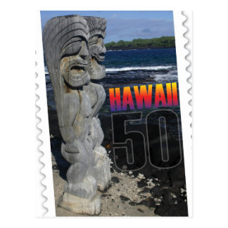 Hawaii statehood 50th anniversary postcard island