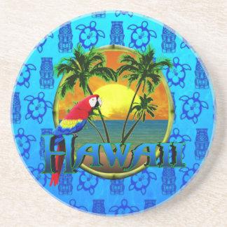 Hawaii Sunset Blue Tiki Beverage Coasters