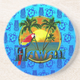 Hawaii Sunset Blue Tiki Coaster